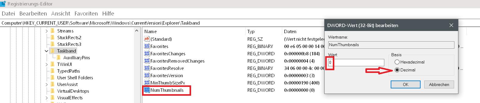wert dezimal - Windows 10 statt Vorschaubilder nur Text in der Taskleiste