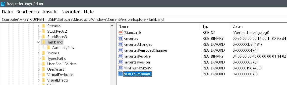 wert erstellt 1 - Windows 10 statt Vorschaubilder nur Text in der Taskleiste