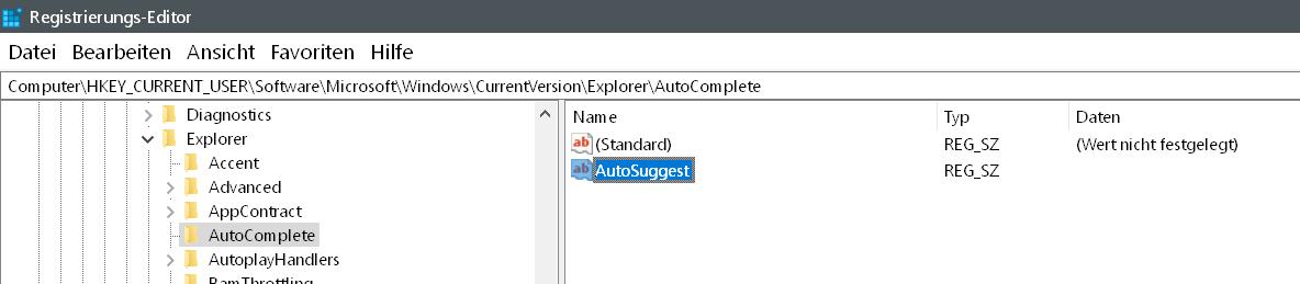 zeichenfolge erstellt 1 - Windows 10 Autovervollständigung im Windows Explorer deaktivieren