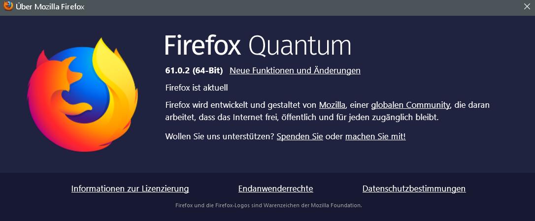61.0.2 - Firefox Version 61.0.2 ist erschienen