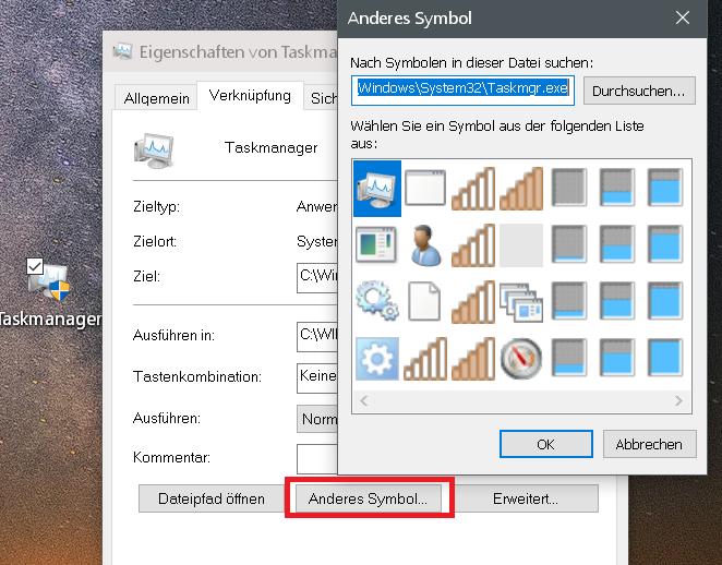 anderes symbol 1 - Taskmanager - Verknüpfung in die Taskleiste erstellen
