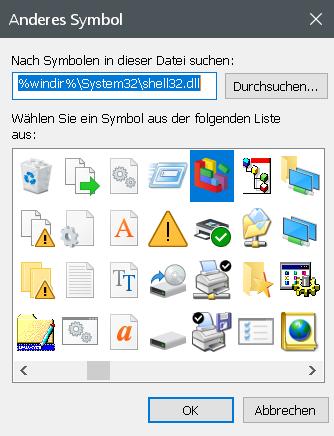 anderes symbol - Registry Editor - Verknüpfung in der Taskleiste