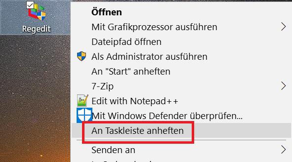 anheften taskleiste - Registry Editor - Verknüpfung in der Taskleiste