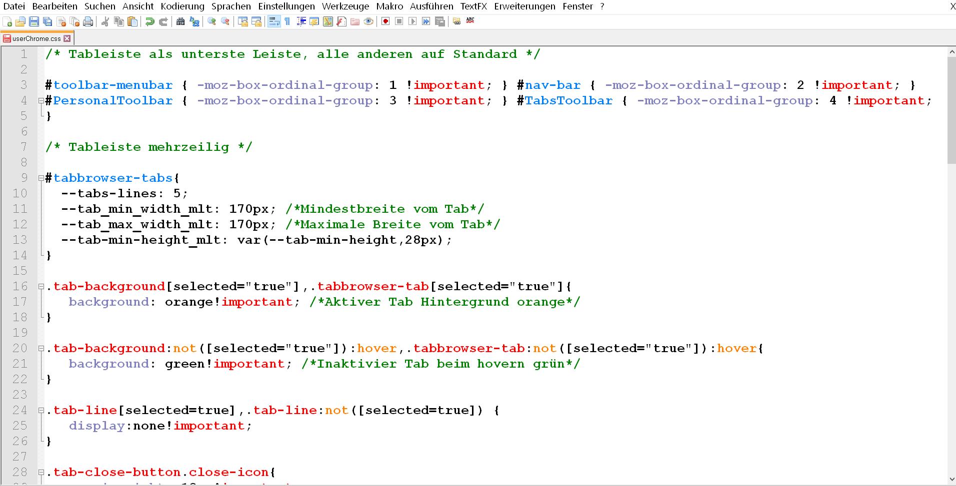 css code - Mehrreihige Tableiste im Firefox