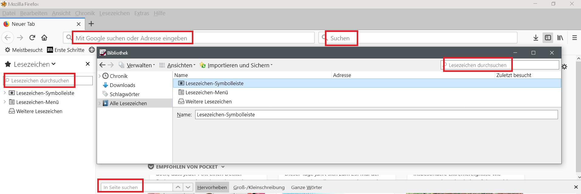 mit text 1 - Firefox - Texte aus den verschiedenen Leisten entfernen