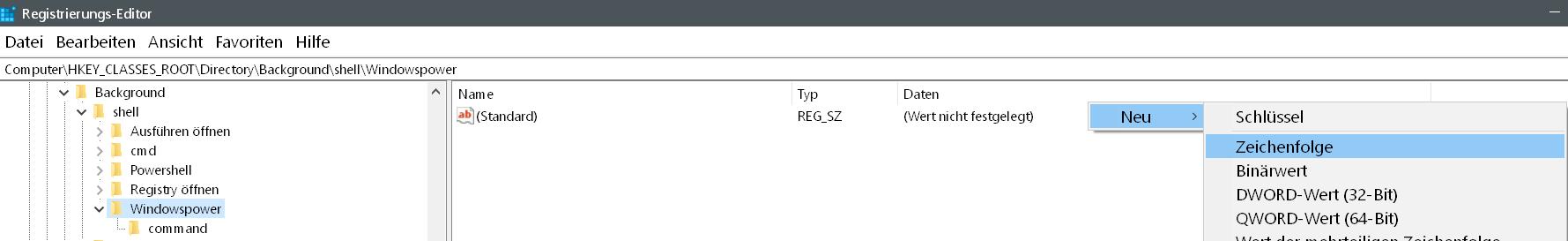neue zeichenfolge - Windows 10 beliebige Webseite aus dem Desktop Kontextmenü starten