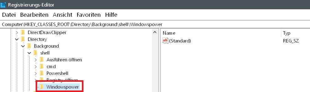 neuer schluessel erstellt - Windows 10 beliebige Webseite aus dem Desktop Kontextmenü starten