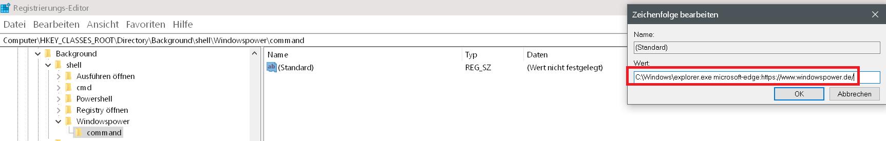 pfad eingeben - Windows 10 beliebige Webseite aus dem Desktop Kontextmenü starten