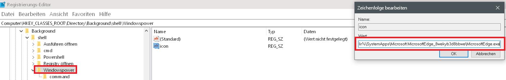 pfad fuer icon - Windows 10 beliebige Webseite aus dem Desktop Kontextmenü starten