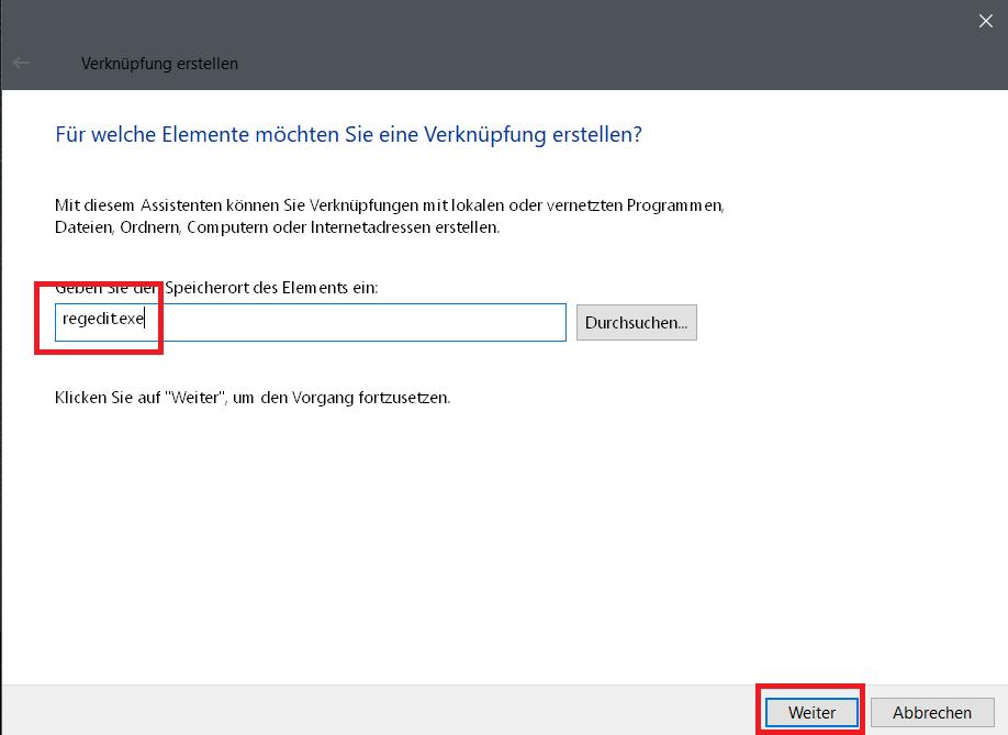 programm eingeben - Registry Editor - Verknüpfung in der Taskleiste