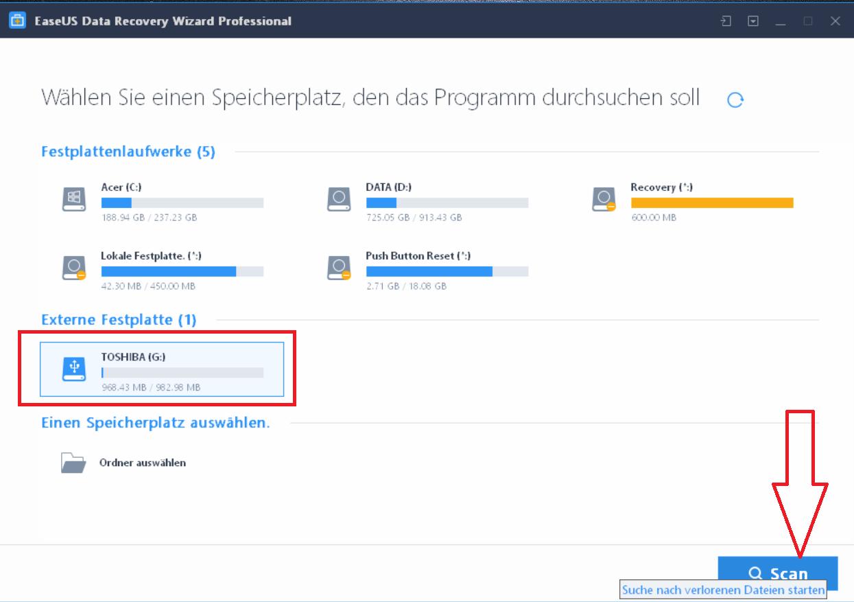 scan starten - EaseUS Data Recovery Wizard 12.6 ausprobiert - Wir verlosen 5 Lizenzen