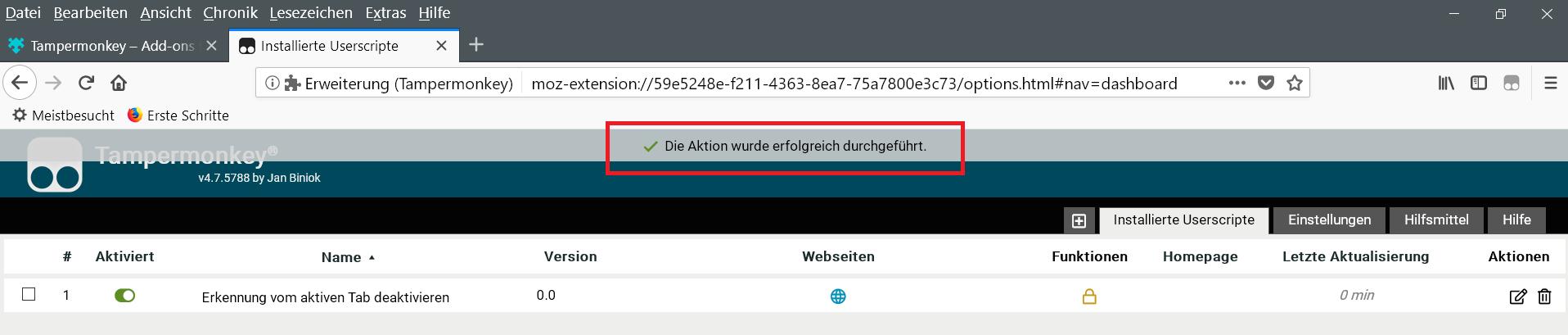 script installiert - Firefox die Tab Erkennung deaktivieren