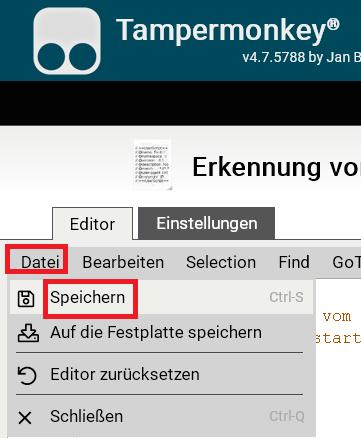 script speichern - Firefox die Tab Erkennung deaktivieren
