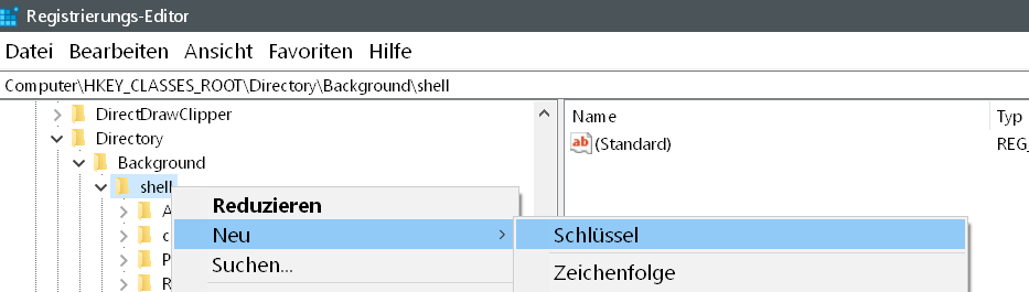 shell neuer schluessel - Windows 10 beliebige Webseite aus dem Desktop Kontextmenü starten