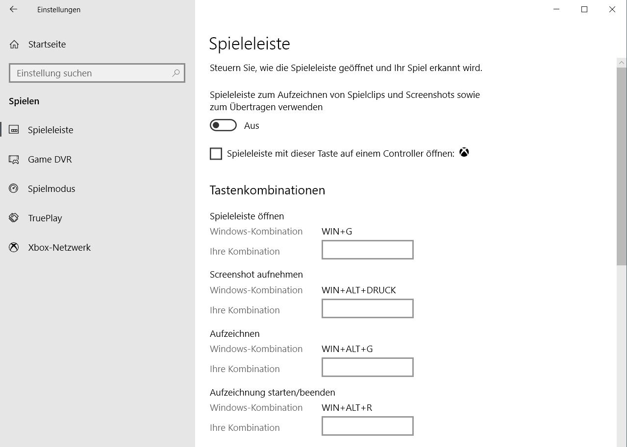 spielen geoeffnet - Windows 10 Eintrag Spielen unter Einstellungen entfernen