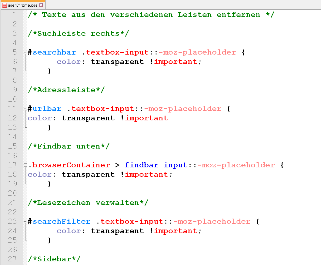 userchrome - Firefox - Texte aus den verschiedenen Leisten entfernen