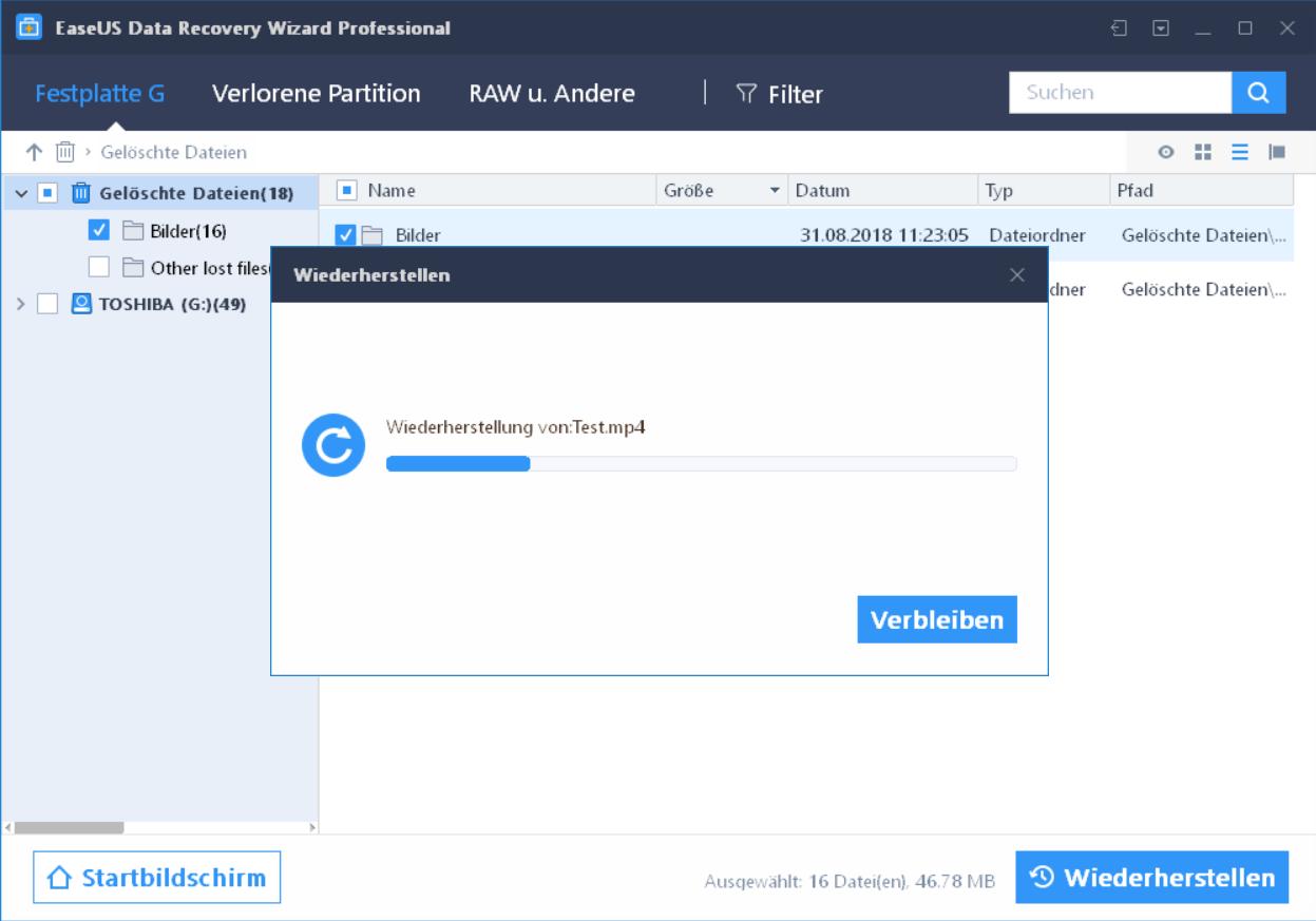 vorgang wiederherstellung - EaseUS Data Recovery Wizard 12.6 ausprobiert - Wir verlosen 5 Lizenzen