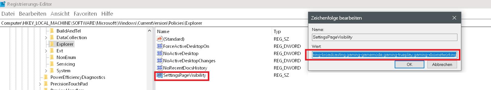 wert eingegeben - Windows 10 Eintrag Spielen unter Einstellungen entfernen