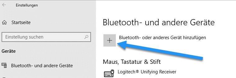 Bluetooth- und andere Geräte hinzufügen