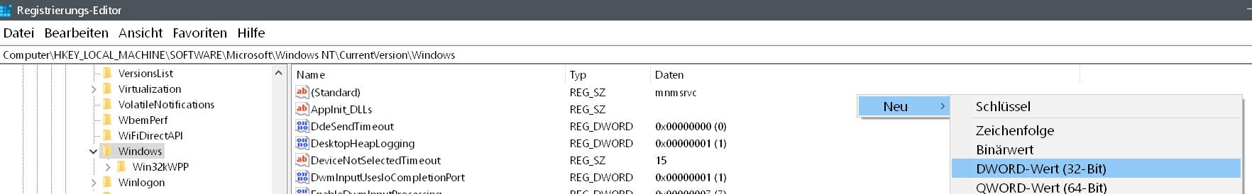 dword neu - Windows Version auf dem Desktop anzeigen