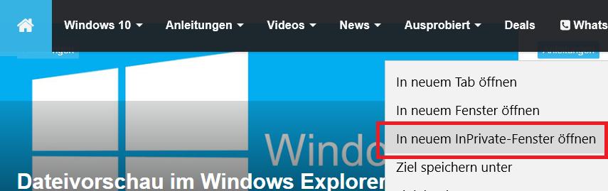 In neuem InPrivate-Fenster öffnen entfernen im Edge Browser 0
