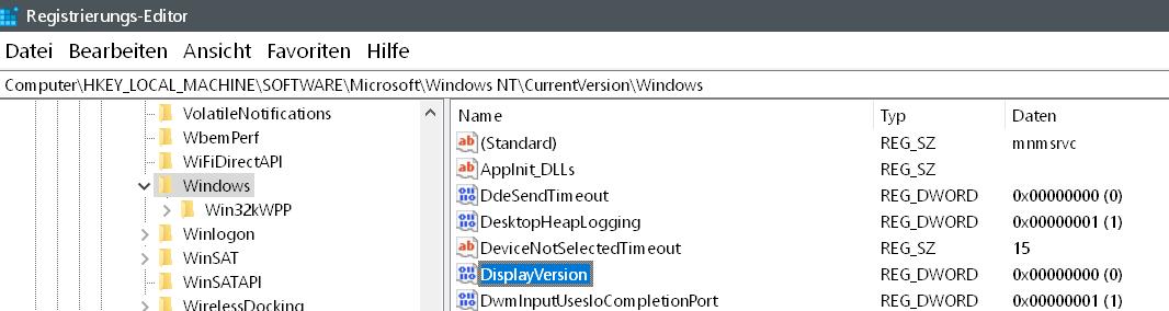 neuen eintrag erstellt - Windows Version auf dem Desktop anzeigen