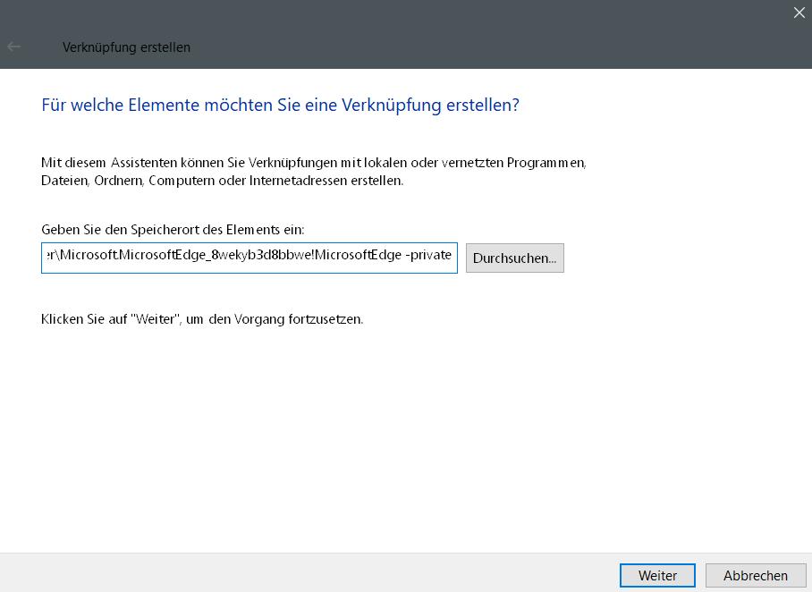 pfad eingeben - InPrivate-Modus dauerhaft im Edge Browser nutzen