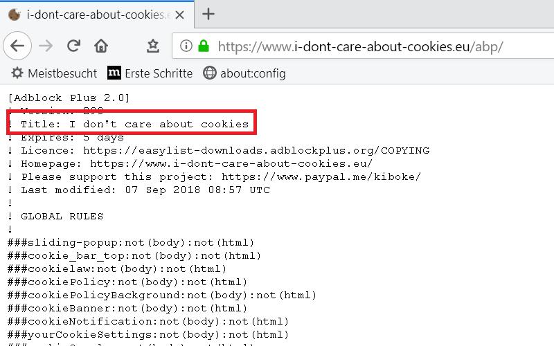 vorschau liste - Cookie-Hinweis auf Webseiten ausblenden im Firefox