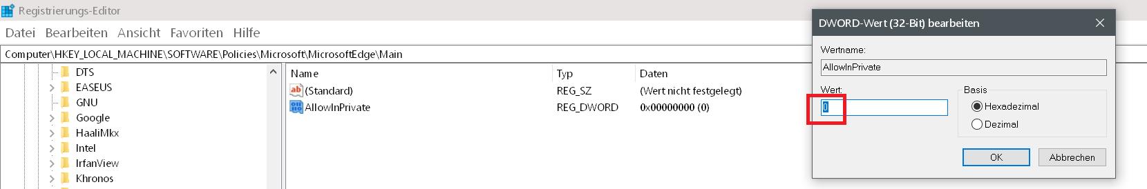 In neuem InPrivate-Fenster öffnen entfernen im Edge Browser 11