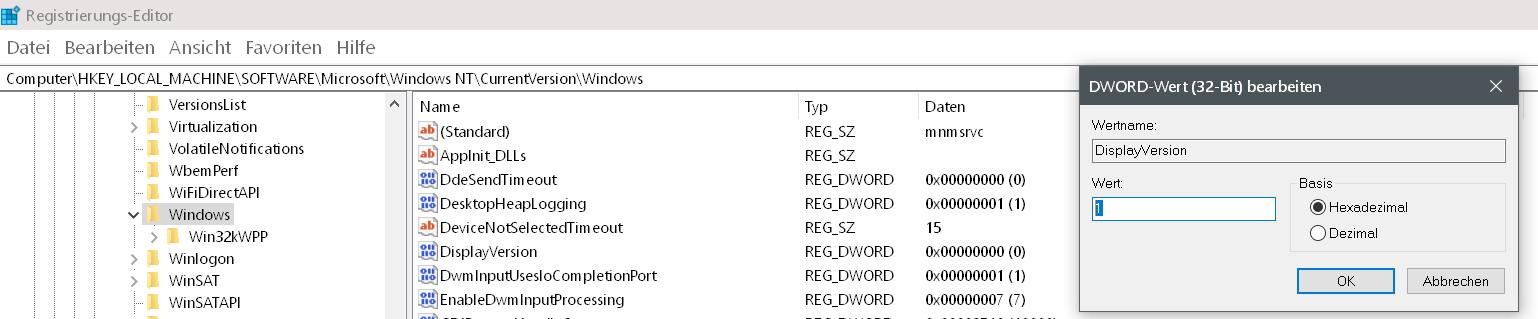 wert geaendert 2 - Windows Version auf dem Desktop anzeigen