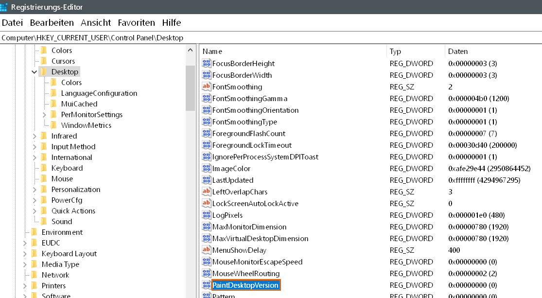 wert gefunden - Windows Version auf dem Desktop anzeigen