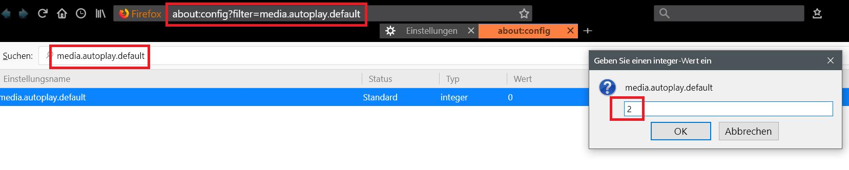 config - Autoplay verhindern auf Webseiten im Firefox