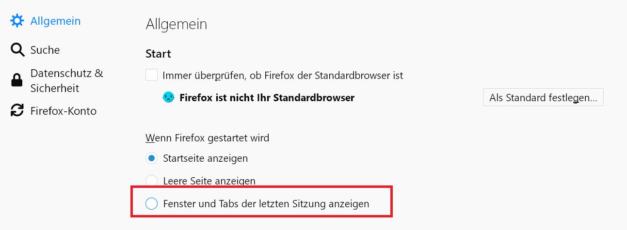 einstellungen frueher - Fenster und Tabs der letzten Sitzung anzeigen mit Firefox