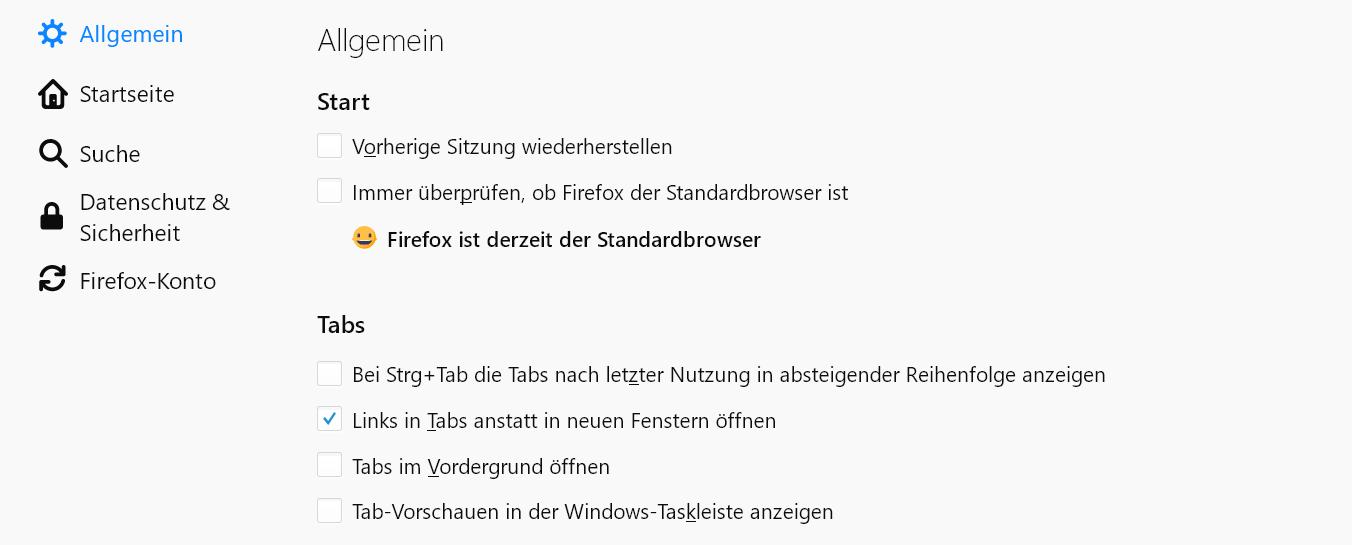 einstellungen heute - Fenster und Tabs der letzten Sitzung anzeigen mit Firefox
