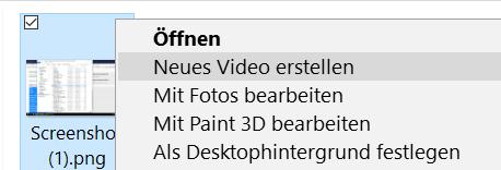 mit eintrag 1 - Neues Video erstellen entfernen im Windows 10 Kontextmenü