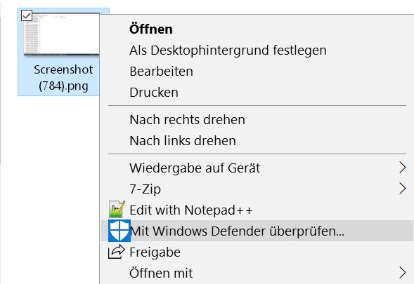 mit eintrag 2 - Mit Windows Defender überprüfen aus dem Kontextmenü entfernen
