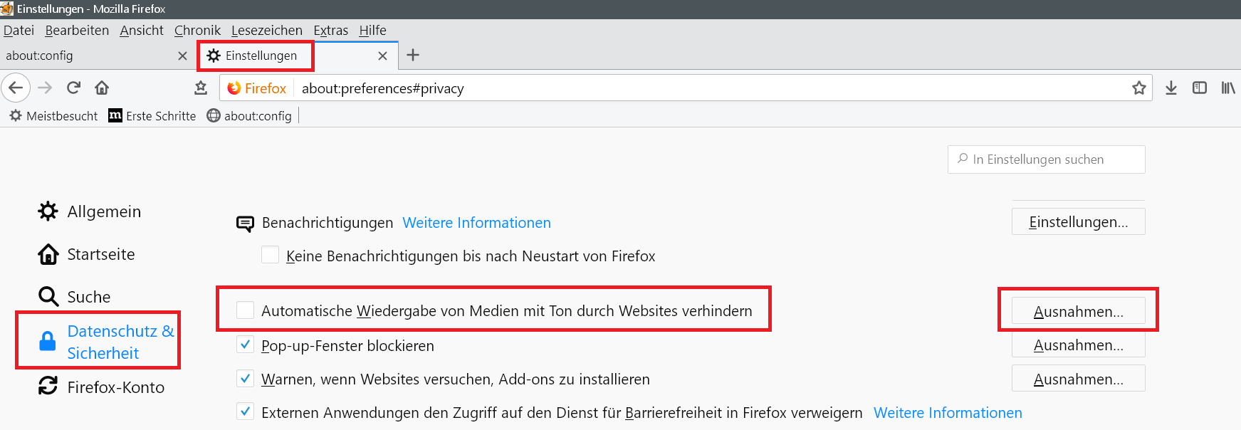 neuer eintrag - Autoplay verhindern auf Webseiten im Firefox
