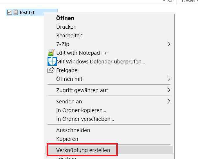 verknuepfung erstellen - Dateien als Kachel an das Startmenü anheften