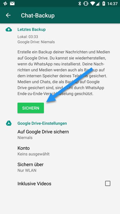 WhatsApp sichern Android