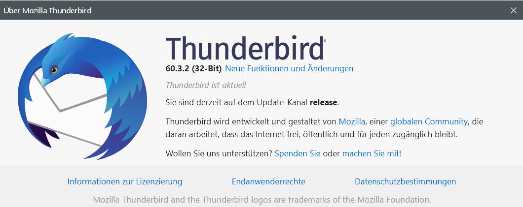 60.3.2 - Thunderbird Version 60.3.2 ist erschienen