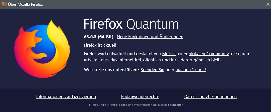 63.0.3 - Firefox Version 63.0.3 ist erschienen