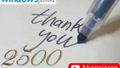 Bild von 2.500 Abonnenten! WindowsPower sagt DANKE!