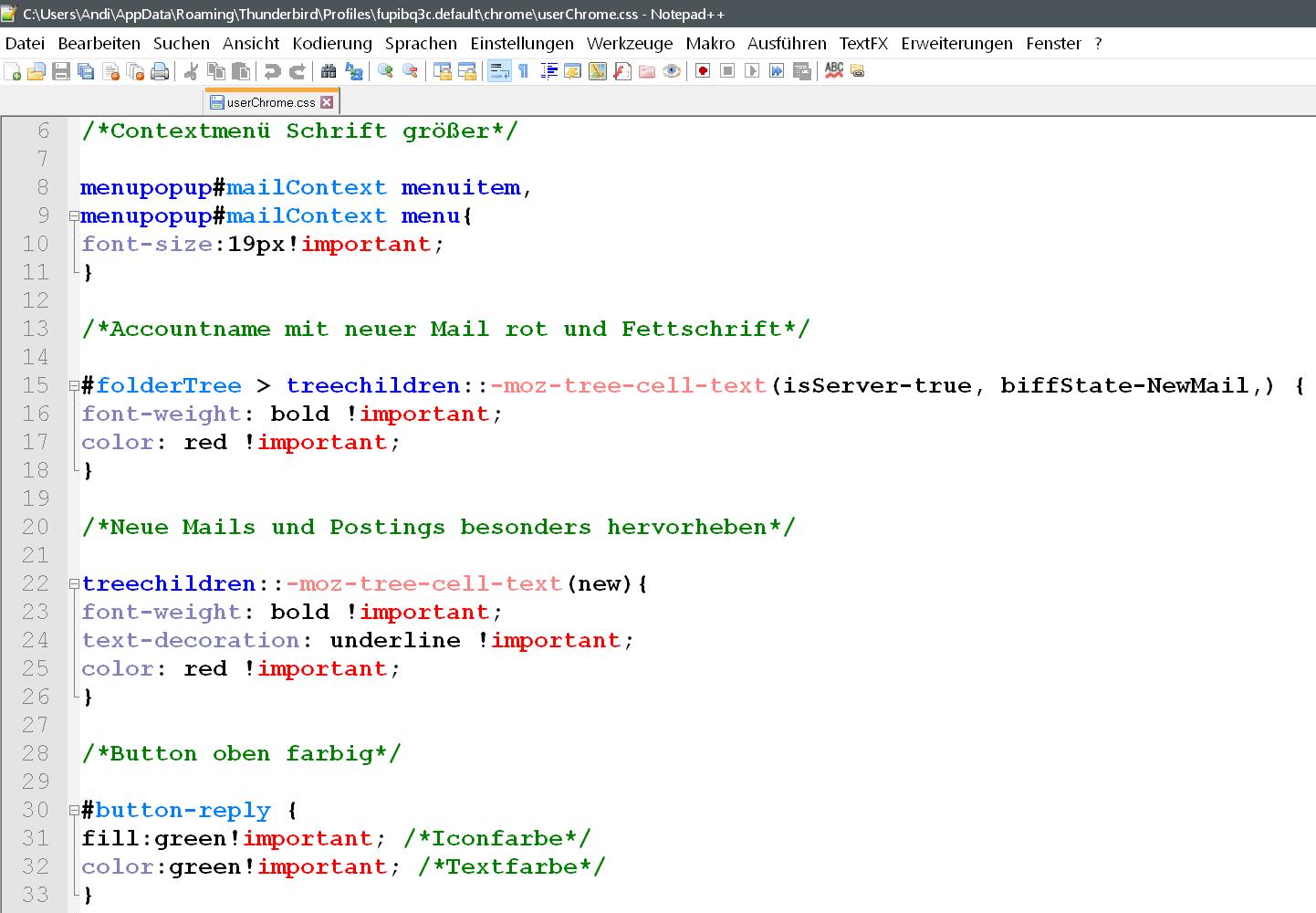 css alle codes - Rechtsklick Contextmenü den Text vergrößern im Thunderbird