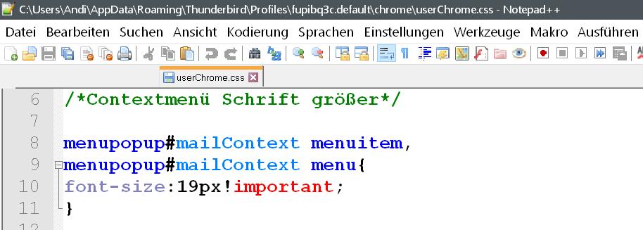 css contextmenue - Rechtsklick Contextmenü den Text vergrößern im Thunderbird