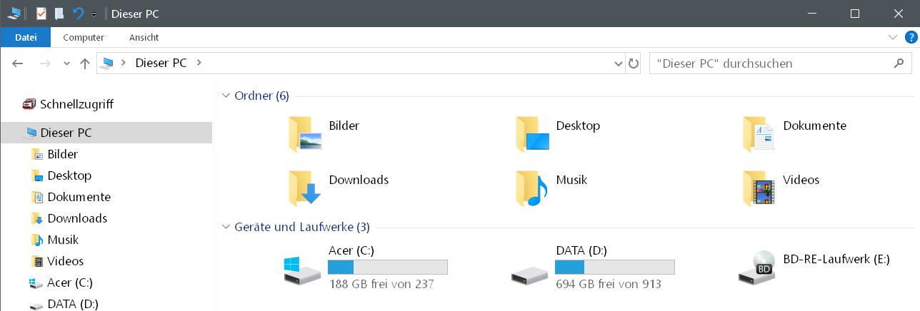 dieser pc mit laufwerke - Laufwerke im Schnellzugriff anzeigen Windows 10