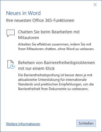 Neues in Word
