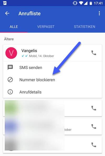 nummer blockieren - Telefonnummern Anrufer unter Android blockieren