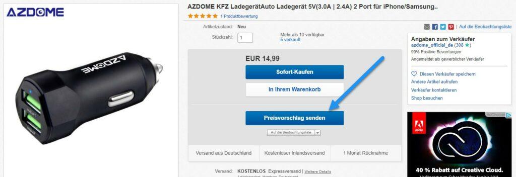 preisvorschlag senden 1024x352 - Nur bei uns – AZDOME Autoladegerät für 1€ statt 14,99€