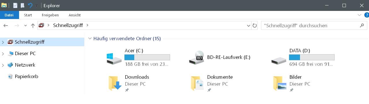 schnellzugriff mit laufwerke - Laufwerke im Schnellzugriff anzeigen Windows 10
