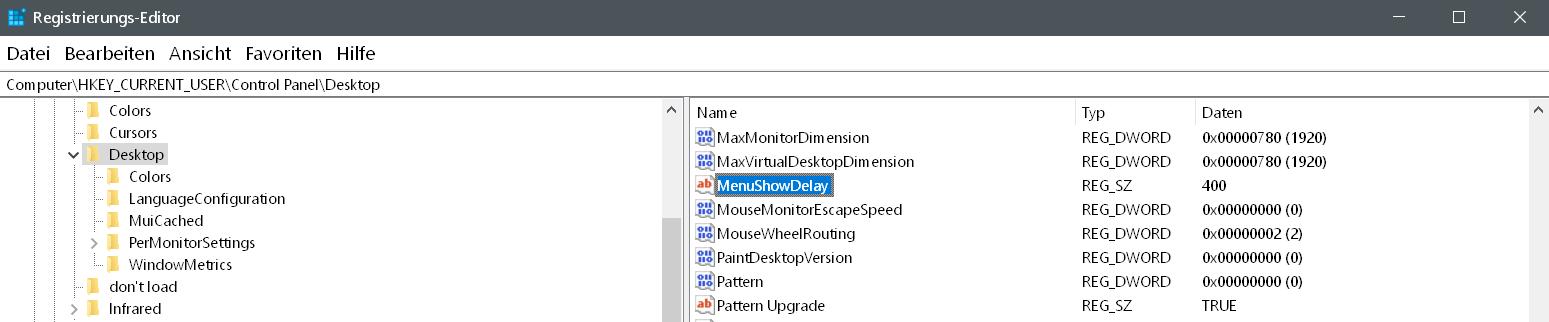 wert gefunden - Startmenü Darstellung beschleunigen unter Windows